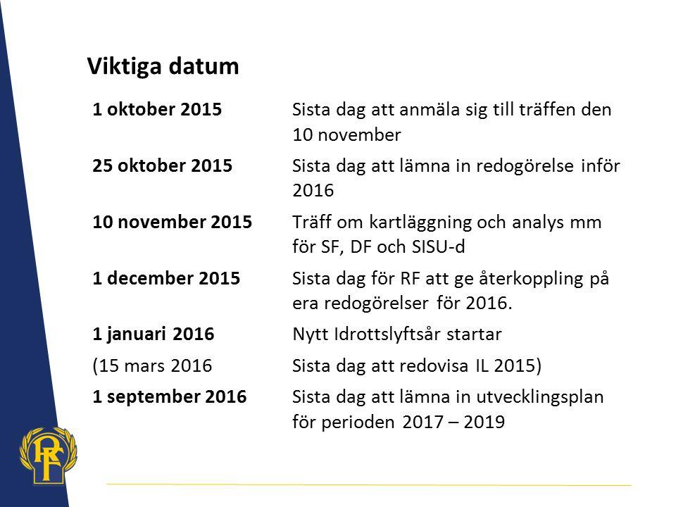 Viktiga datum 1 oktober 2015Sista dag att anmäla sig till träffen den 10 november 25 oktober 2015Sista dag att lämna in redogörelse inför 2016 10 nove