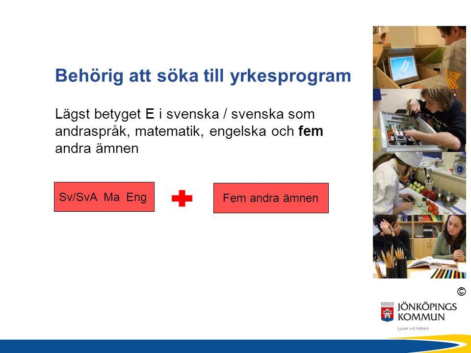 © Behörig att söka till yrkesprogram Lägst betyget E i svenska / svenska som andraspråk, matematik, engelska och fem andra ämnen Sv/SvA Ma Eng Fem andra ämnen