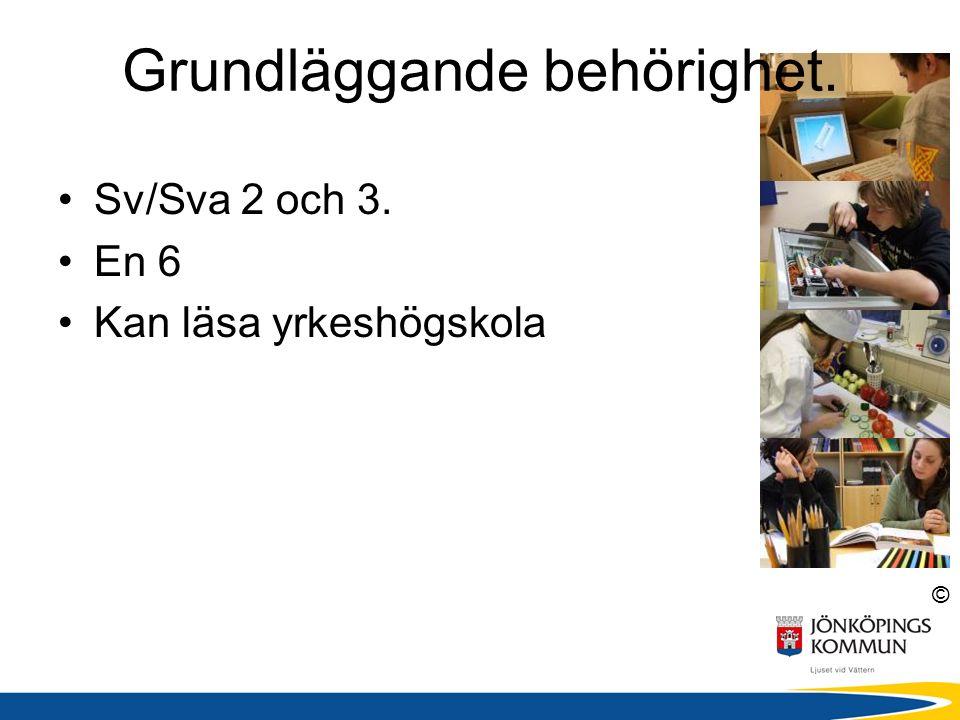 © Grundläggande behörighet. Sv/Sva 2 och 3. En 6 Kan läsa yrkeshögskola