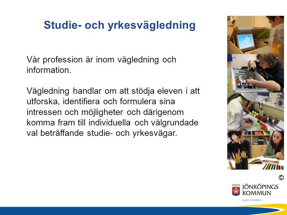 © Studie- och yrkesvägledning Vår profession är inom vägledning och information. Vägledning handlar om att stödja eleven i att utforska, identifiera o