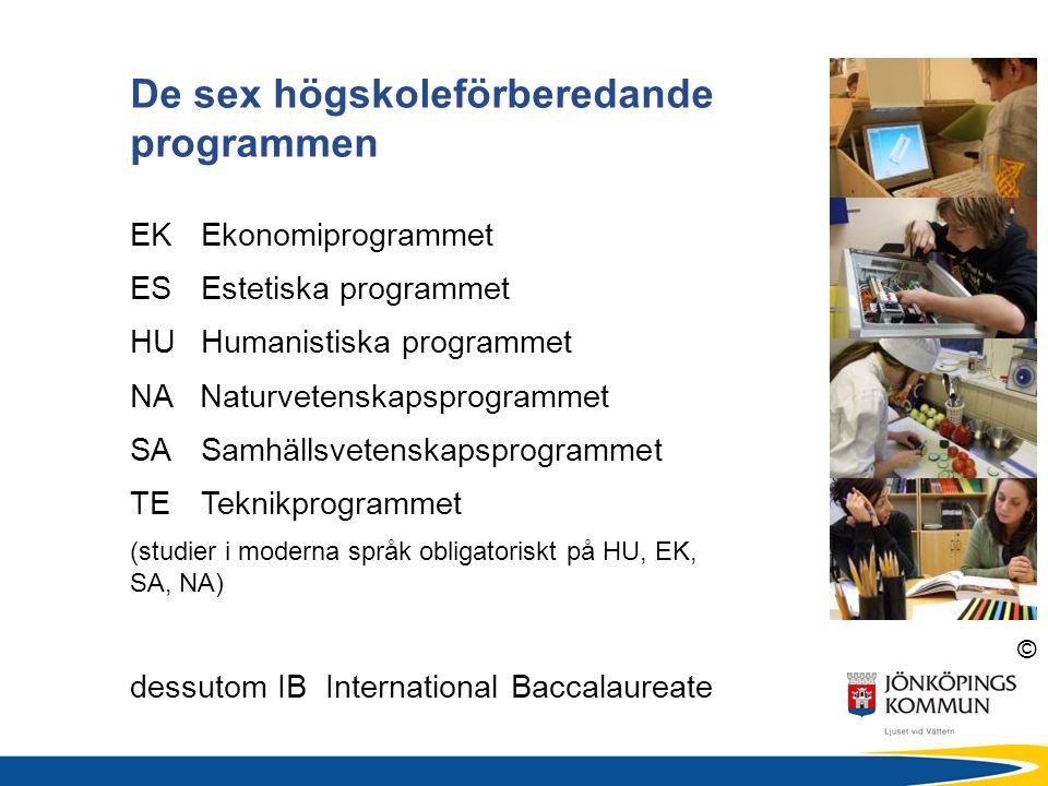 © De sex högskoleförberedande programmen EKEkonomiprogrammet ES Estetiska programmet HUHumanistiska programmet NA Naturvetenskapsprogrammet SASamhällsvetenskapsprogrammet TETeknikprogrammet (studier i moderna språk obligatoriskt på HU, EK, SA, NA) dessutom IB International Baccalaureate