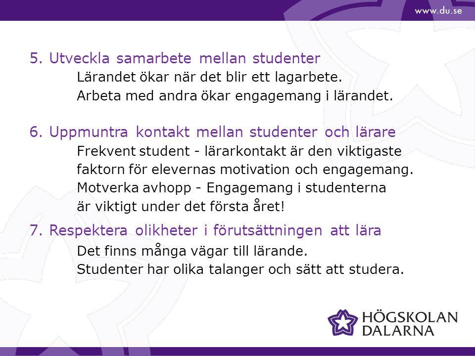 5. Utveckla samarbete mellan studenter Lärandet ökar när det blir ett lagarbete.