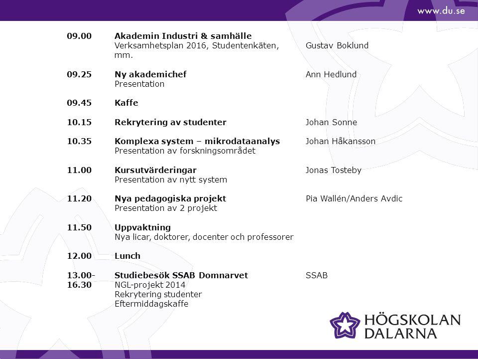 09.00Akademin Industri & samhälle Verksamhetsplan 2016, Studentenkäten, Gustav Boklund mm.