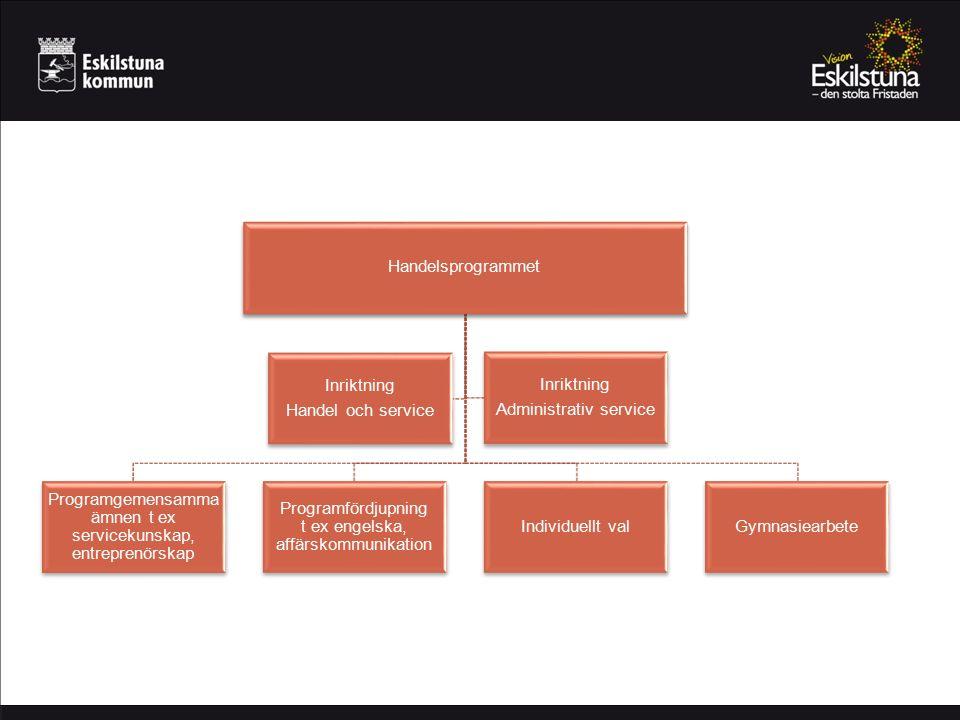 Handelsprogrammet Programgemensamma ämnen t ex servicekunskap, entreprenörskap Programfördjupning t ex engelska, affärskommunikation Individuellt valGymnasiearbete Inriktning Handel och service Inriktning Administrativ service