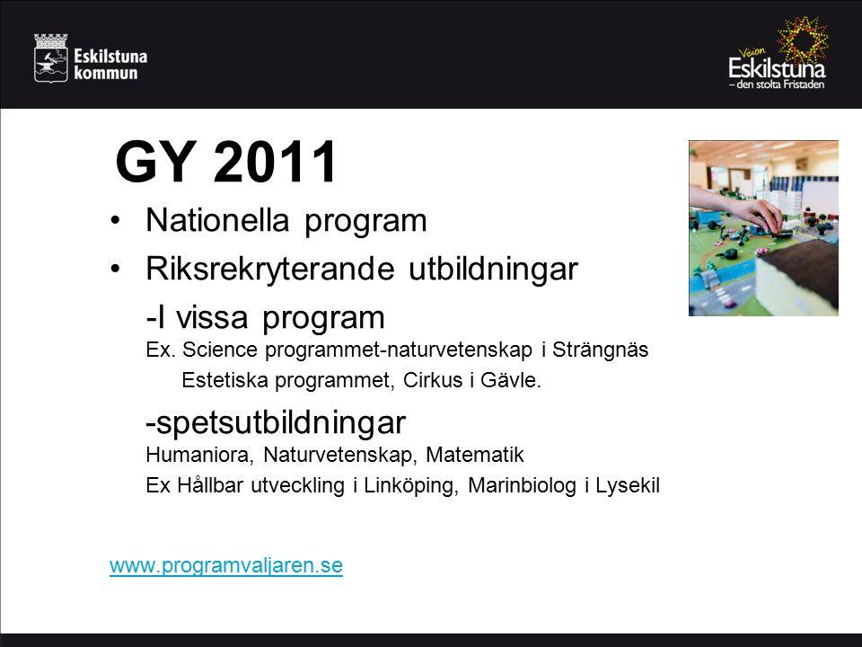 GY 2011 Nationella program Riksrekryterande utbildningar -I vissa program Ex.