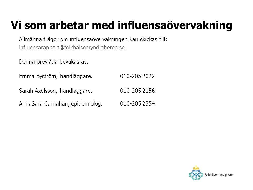 Allmänna frågor om influensaövervakningen kan skickas till: influensarapport@folkhalsomyndigheten.se influensarapport@folkhalsomyndigheten.se Denna br