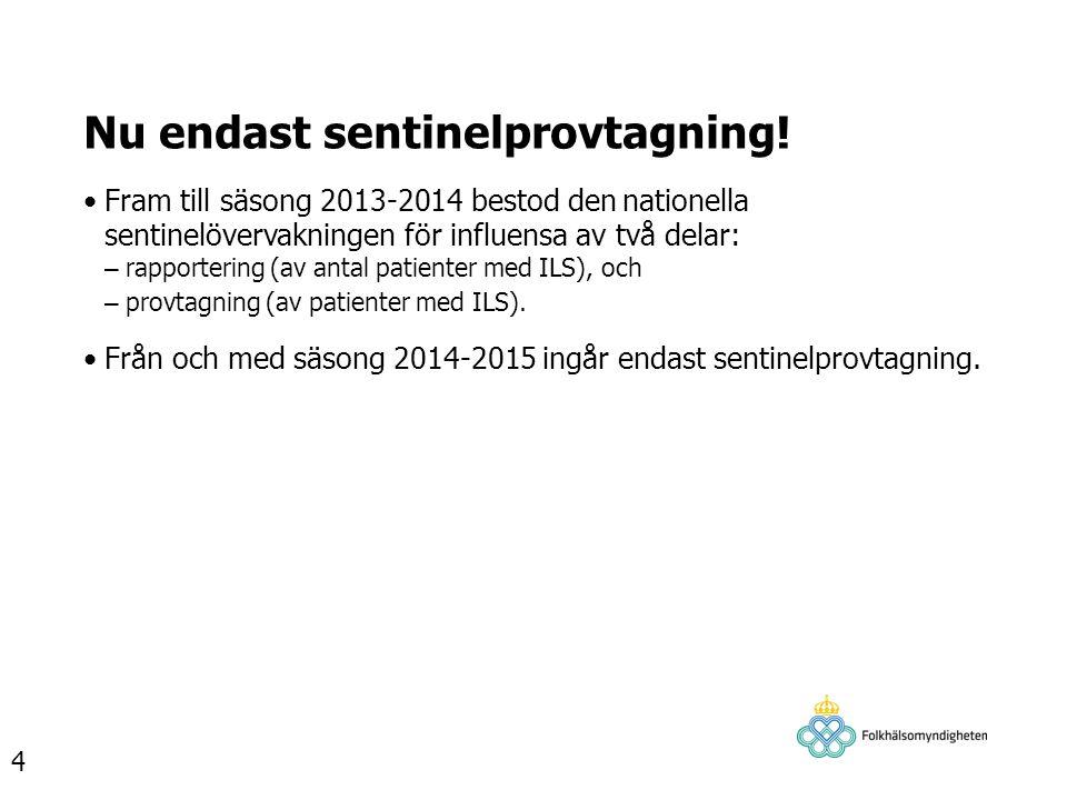 Nu endast sentinelprovtagning! Fram till säsong 2013-2014 bestod den nationella sentinelövervakningen för influensa av två delar: – rapportering (av a