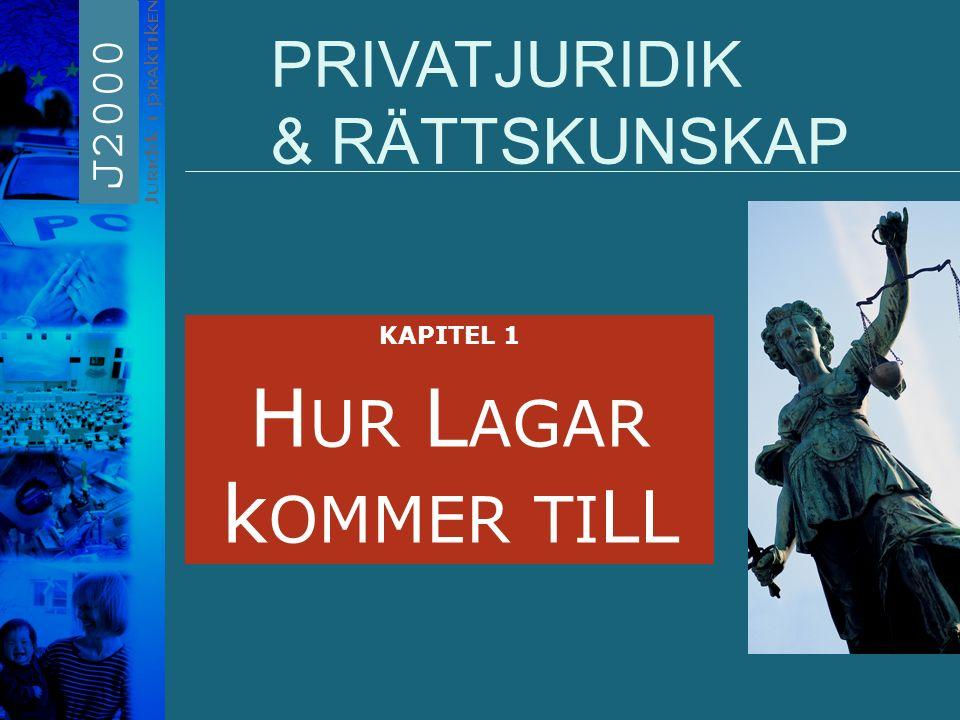 PRIVATJURIDIK & RÄTTSKUNSKAP KAPITEL 1 H UR L AGAR k OMMER TI LL