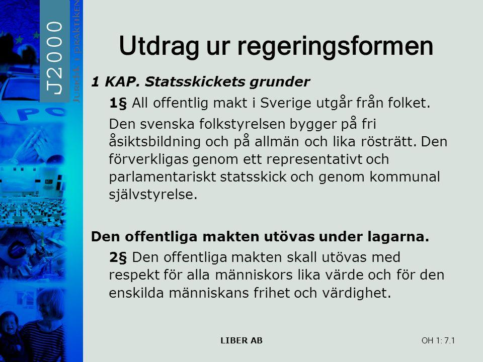 LIBER AB OH 1: Utdrag ur regeringsformen 1 KAP. Statsskickets grunder 1§ All offentlig makt i Sverige utgår från folket. Den svenska folkstyrelsen byg