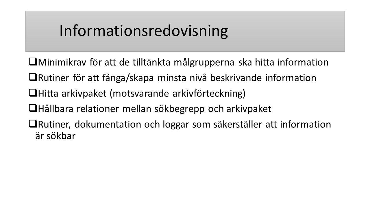 Informationsredovisning  Minimikrav för att de tilltänkta målgrupperna ska hitta information  Rutiner för att fånga/skapa minsta nivå beskrivande in