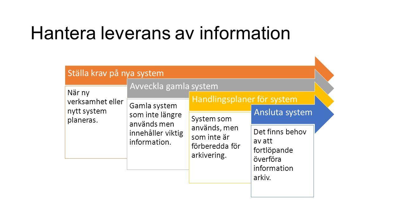 Hantera leverans av information Ställa krav på nya system När ny verksamhet eller nytt system planeras. Avveckla gamla system Gamla system som inte lä