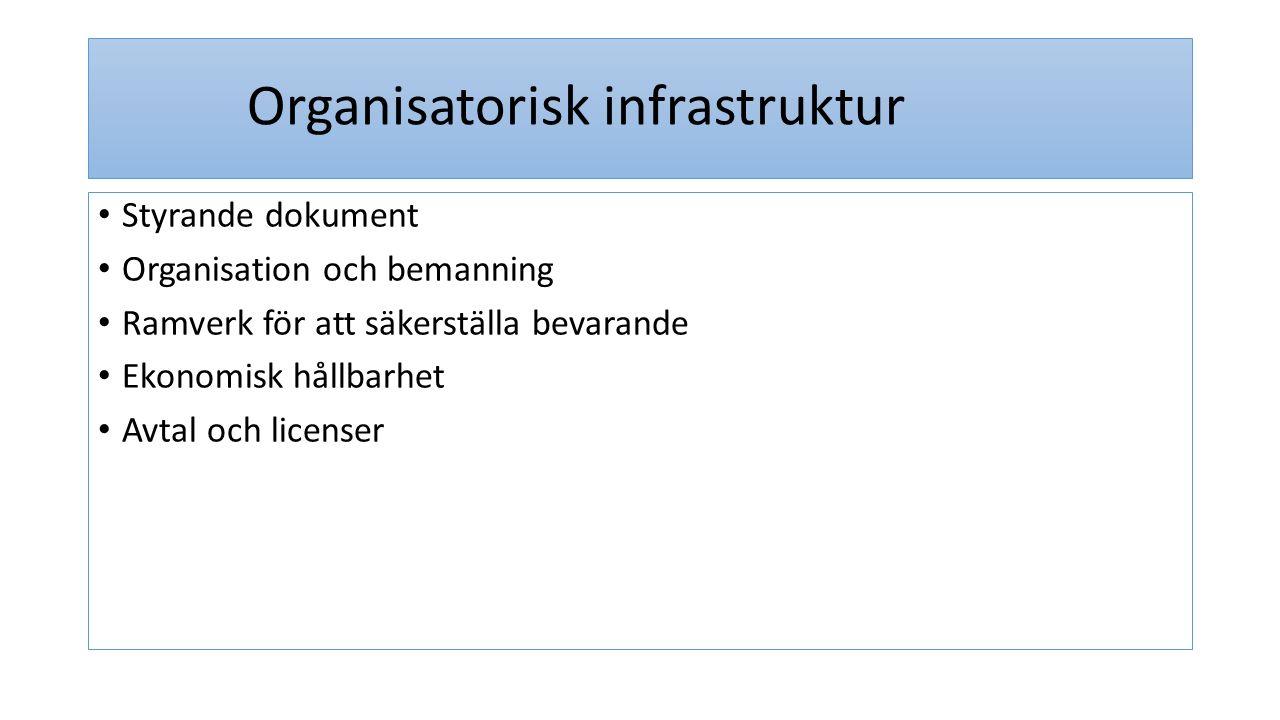 Organisatorisk infrastruktur Styrande dokument Organisation och bemanning Ramverk för att säkerställa bevarande Ekonomisk hållbarhet Avtal och license