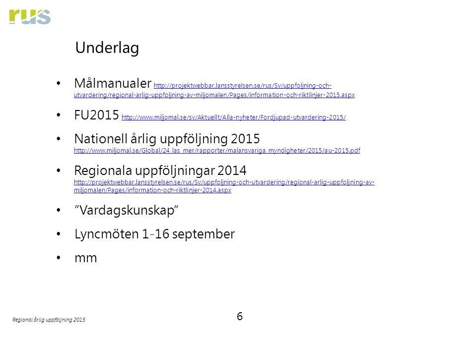6 Regional årlig uppföljning 2015 Underlag Målmanualer http://projektwebbar.lansstyrelsen.se/rus/Sv/uppfoljning-och- utvardering/regional-arlig-uppfol