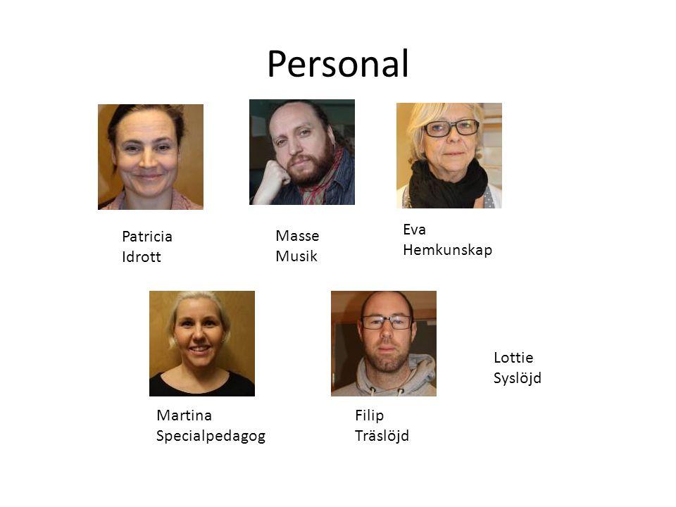 Personal Patricia Idrott Masse Musik Eva Hemkunskap Martina Specialpedagog Filip Träslöjd Lottie Syslöjd