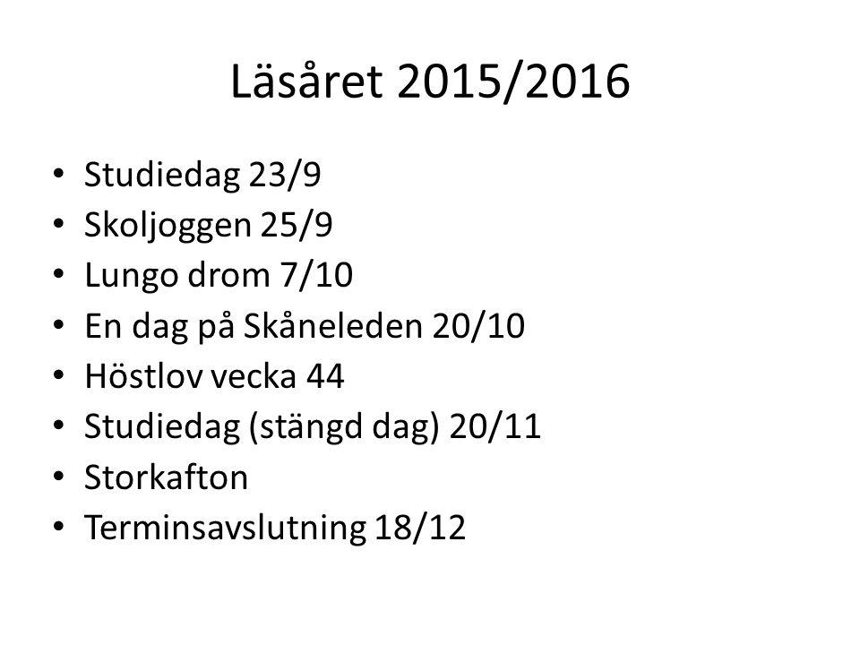 Läsåret 2015/2016 Studiedag 23/9 Skoljoggen 25/9 Lungo drom 7/10 En dag på Skåneleden 20/10 Höstlov vecka 44 Studiedag (stängd dag) 20/11 Storkafton T