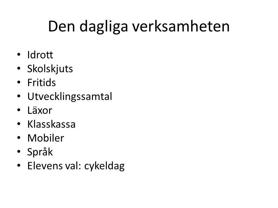 Den dagliga verksamheten Idrott Skolskjuts Fritids Utvecklingssamtal Läxor Klasskassa Mobiler Språk Elevens val: cykeldag