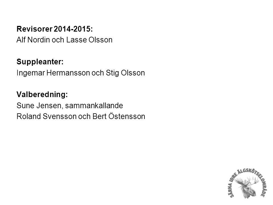 Revisorer 2014-2015: Alf Nordin och Lasse Olsson Suppleanter: Ingemar Hermansson och Stig Olsson Valberedning: Sune Jensen, sammankallande Roland Svensson och Bert Östensson