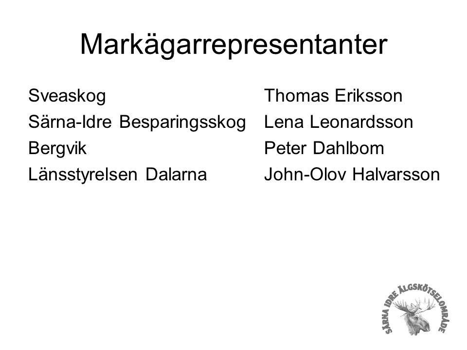 Markägarrepresentanter Sveaskog Särna-Idre Besparingsskog Bergvik Länsstyrelsen Dalarna Thomas Eriksson Lena Leonardsson Peter Dahlbom John-Olov Halvarsson