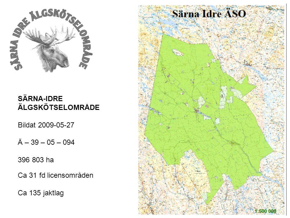 SÄRNA-IDRE ÄLGSKÖTSELOMRÅDE Bildat 2009-05-27 Ä – 39 – 05 – 094 396 803 ha Ca 31 fd licensområden Ca 135 jaktlag