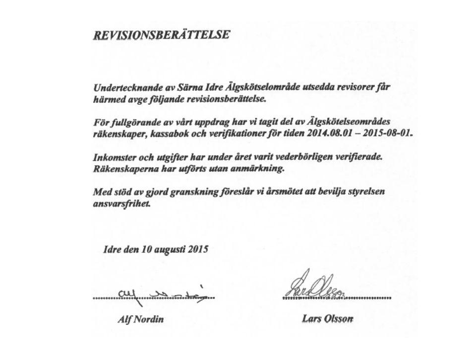 ÄLGSKÖTSELOMRÅDETS STYRELSE 2014-2015: Jägarrepresentanter: Martin Olsson( till 2015), Stefan Staffansson (till 2015) Martin Salmonsson (till 2016), Stefan Mattsson (till 2016) Ulf Spånberg (till 2015), Särna vvof Suppleanter: Tomas Dahlqvist (till 2015), Jonny Persson (till 2016) Markägarrepresentanter: Thomas Eriksson, Sveaskog, ordförande(1år) John Halvarsson, Länsstyrelsen Dalarna Lena Leonardsson, SIB Peter Dahlbom, Bergvik