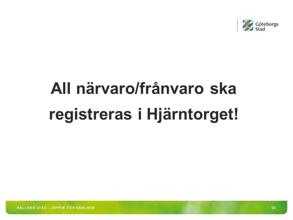 HÅLLBAR STAD – ÖPPEN FÖR VÄRLDEN 10 All närvaro/frånvaro ska registreras i Hjärntorget!