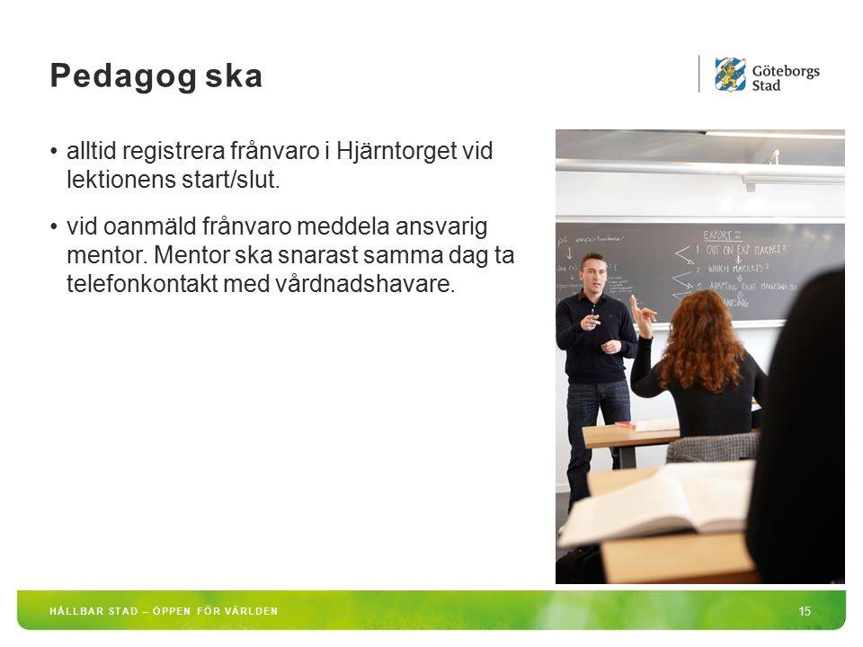 HÅLLBAR STAD – ÖPPEN FÖR VÄRLDEN 15 alltid registrera frånvaro i Hjärntorget vid lektionens start/slut. vid oanmäld frånvaro meddela ansvarig mentor.