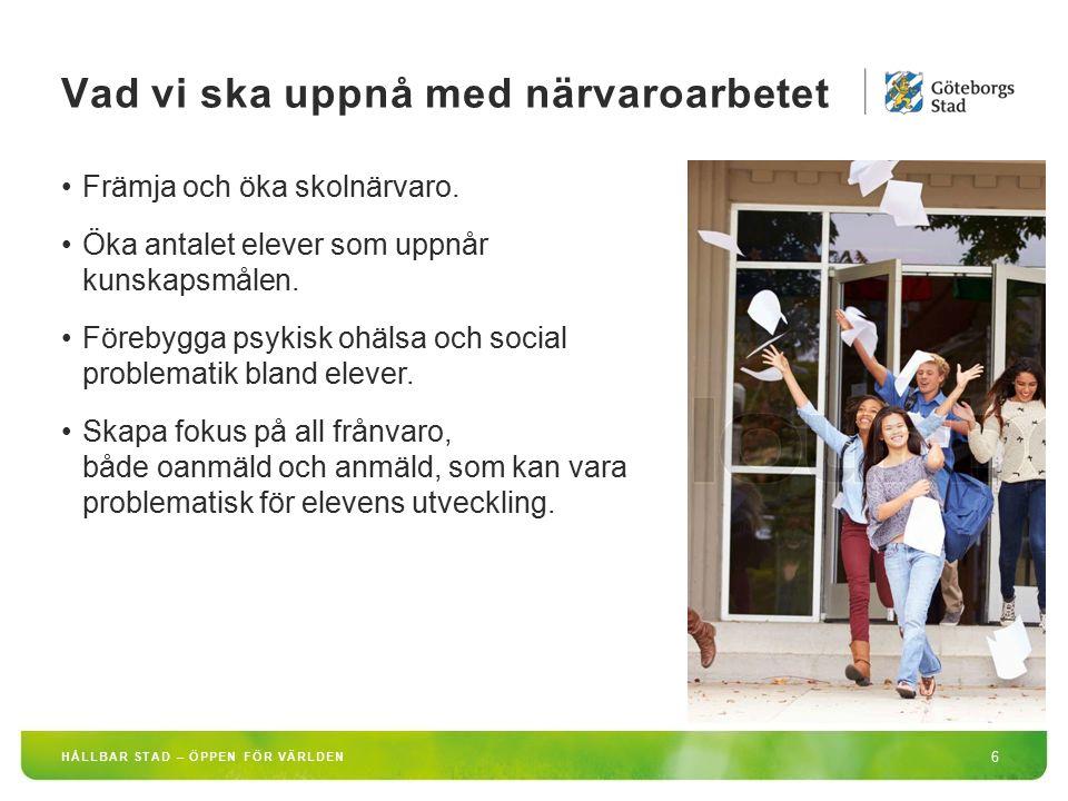 HÅLLBAR STAD – ÖPPEN FÖR VÄRLDEN 6 Främja och öka skolnärvaro. Öka antalet elever som uppnår kunskapsmålen. Förebygga psykisk ohälsa och social proble