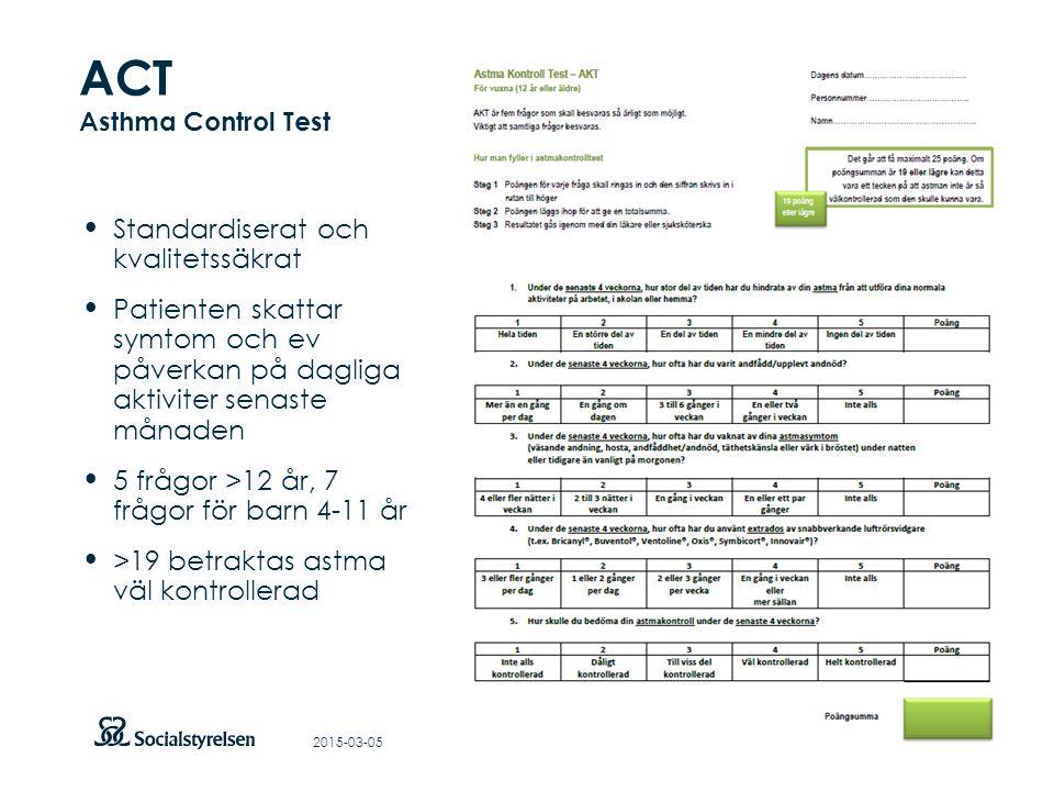 Att visa fotnot, datum, sidnummer Klicka på fliken Infoga och klicka på ikonen sidhuvud/sidfot Klistra in text: Klistra in texten, klicka på ikonen (Ctrl), välj Behåll endast text ACT Asthma Control Test Standardiserat och kvalitetssäkrat Patienten skattar symtom och ev påverkan på dagliga aktiviter senaste månaden 5 frågor >12 år, 7 frågor för barn 4-11 år >19 betraktas astma väl kontrollerad 2015-03-05