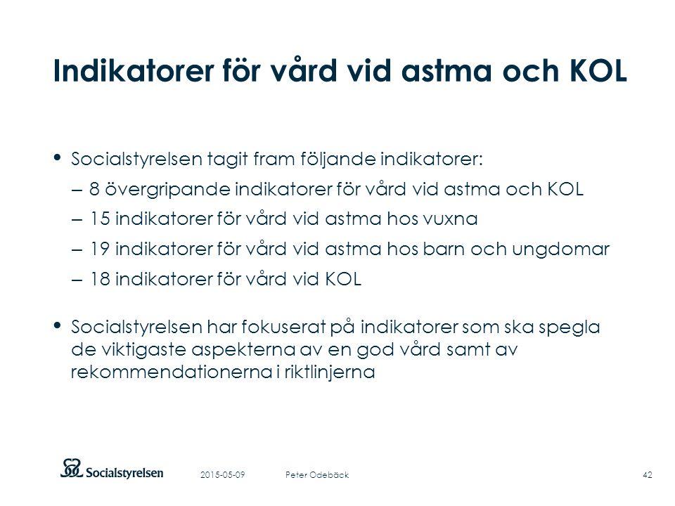 Att visa fotnot, datum, sidnummer Klicka på fliken Infoga och klicka på ikonen sidhuvud/sidfot Klistra in text: Klistra in texten, klicka på ikonen (Ctrl), välj Behåll endast text Indikatorer för vård vid astma och KOL Socialstyrelsen tagit fram följande indikatorer: – 8 övergripande indikatorer för vård vid astma och KOL – 15 indikatorer för vård vid astma hos vuxna – 19 indikatorer för vård vid astma hos barn och ungdomar – 18 indikatorer för vård vid KOL Socialstyrelsen har fokuserat på indikatorer som ska spegla de viktigaste aspekterna av en god vård samt av rekommendationerna i riktlinjerna 2015-05-0942Peter Odebäck