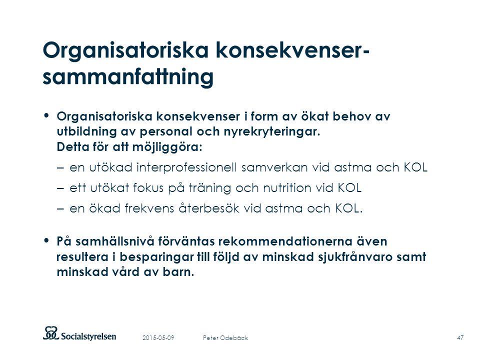 Att visa fotnot, datum, sidnummer Klicka på fliken Infoga och klicka på ikonen sidhuvud/sidfot Klistra in text: Klistra in texten, klicka på ikonen (Ctrl), välj Behåll endast text Organisatoriska konsekvenser- sammanfattning Organisatoriska konsekvenser i form av ökat behov av utbildning av personal och nyrekryteringar.