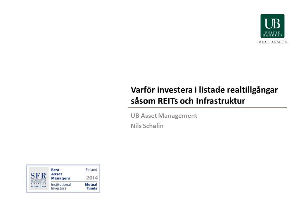 Varför investera i listade realtillgångar såsom REITs och Infrastruktur UB Asset Management Nils Schalin
