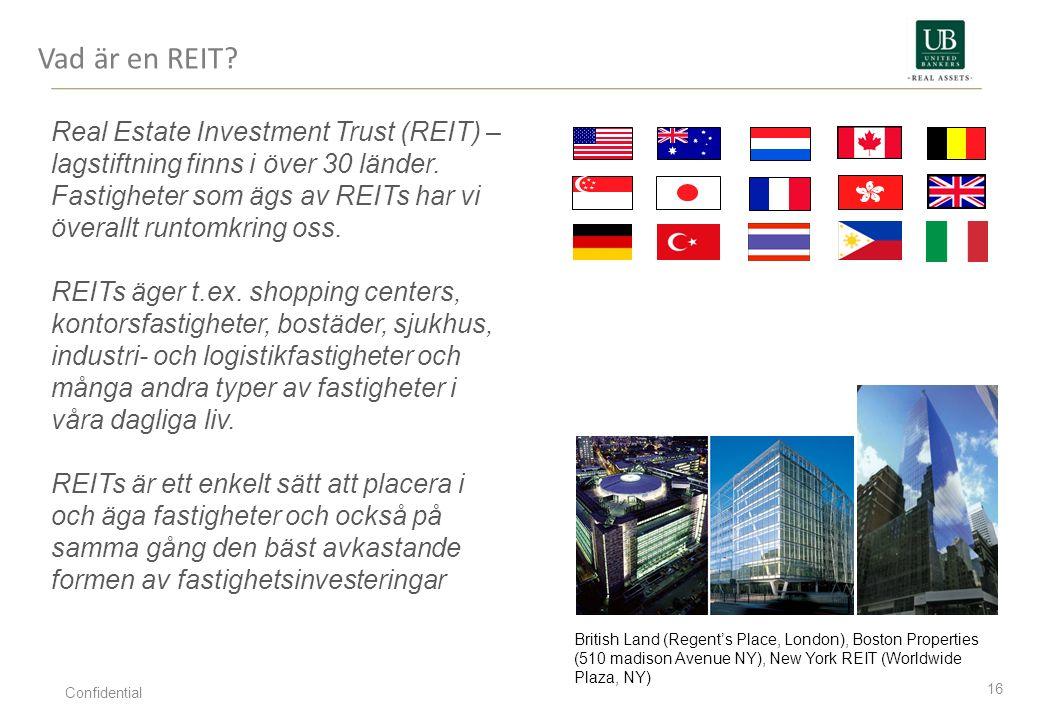Vad är en REIT? 16 Real Estate Investment Trust (REIT) – lagstiftning finns i över 30 länder. Fastigheter som ägs av REITs har vi överallt runtomkring