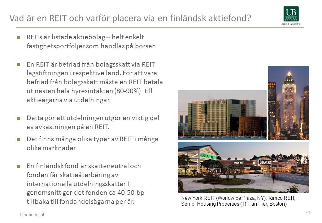Vad är en REIT och varför placera via en finländsk aktiefond? 17 REITs är listade aktiebolag – helt enkelt fastighetsportföljer som handlas på börsen