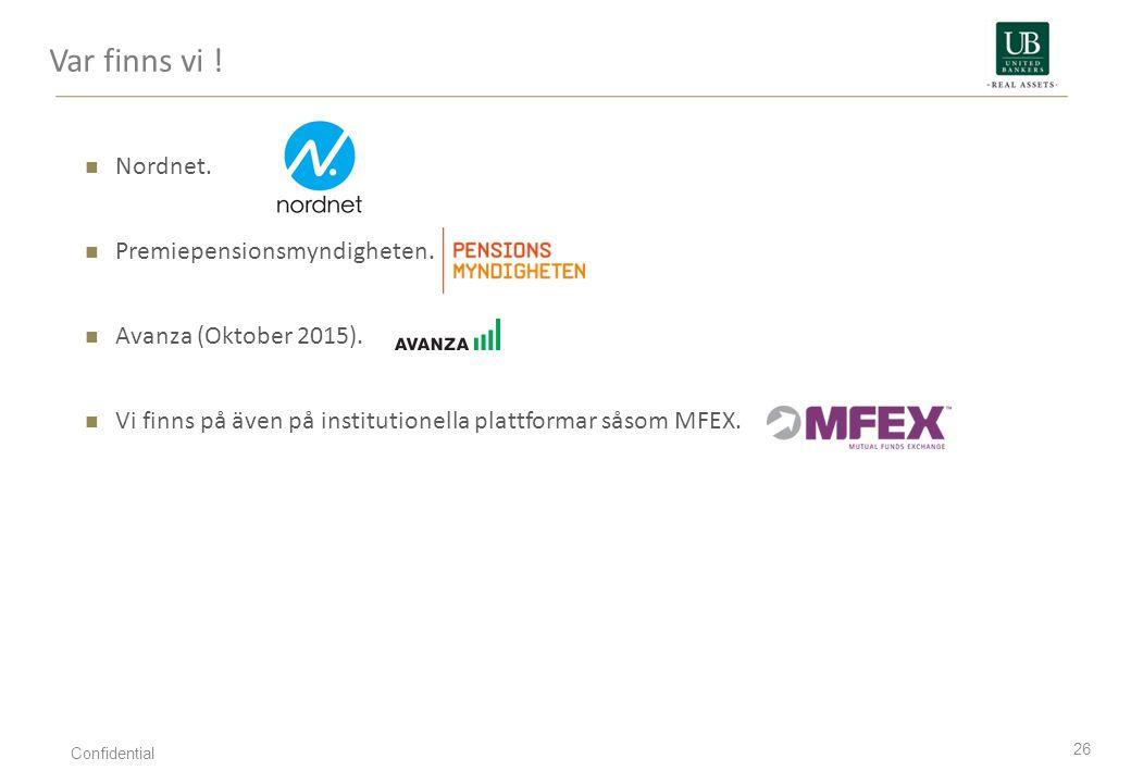 Nordnet. Premiepensionsmyndigheten. Avanza (Oktober 2015). Vi finns på även på institutionella plattformar såsom MFEX. Var finns vi ! 26 Confidential