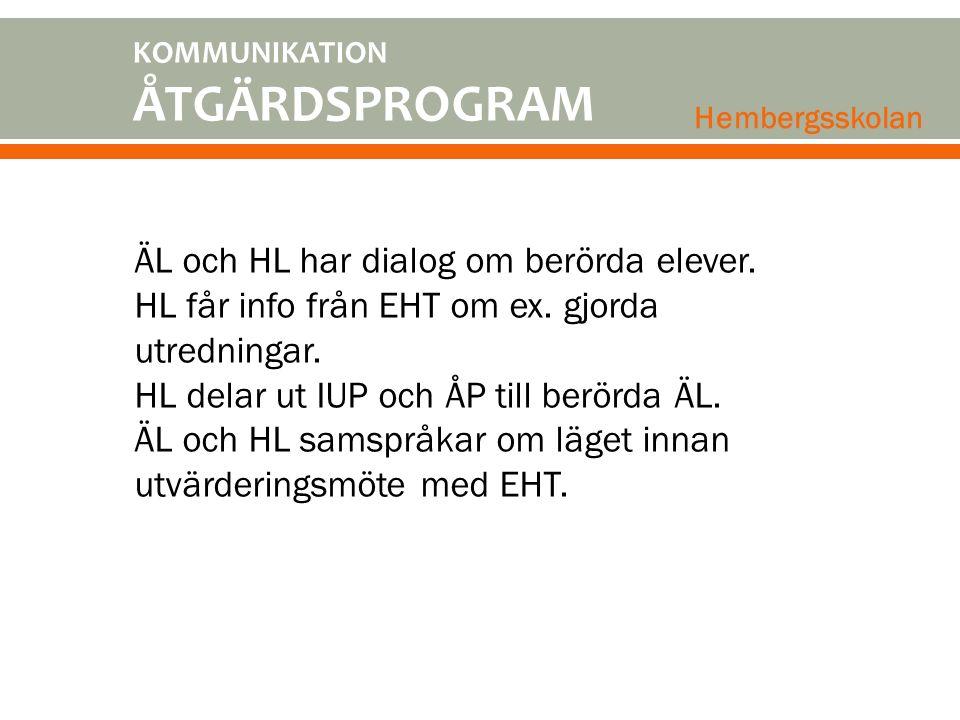 KOMMUNIKATION ÅTGÄRDSPROGRAM Hembergsskolan ÄL och HL har dialog om berörda elever. HL får info från EHT om ex. gjorda utredningar. HL delar ut IUP oc