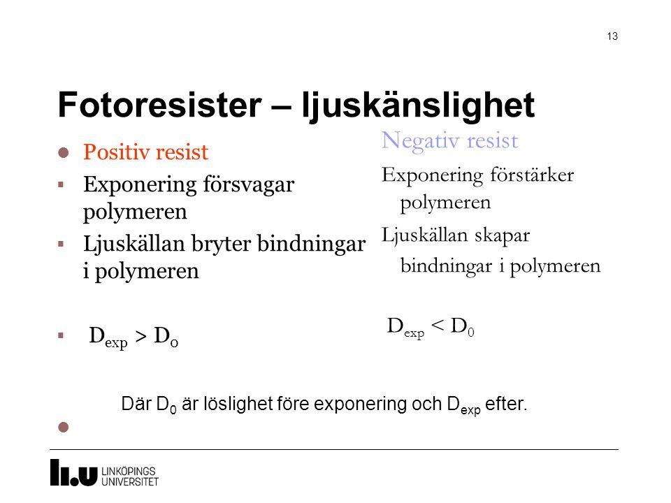 Fotoresister – ljuskänslighet 13 Positiv resist  Exponering försvagar polymeren  Ljuskällan bryter bindningar i polymeren  D exp > D 0 Negativ resist Exponering förstärker polymeren Ljuskällan skapar bindningar i polymeren D exp < D 0 Där D 0 är löslighet före exponering och D exp efter.
