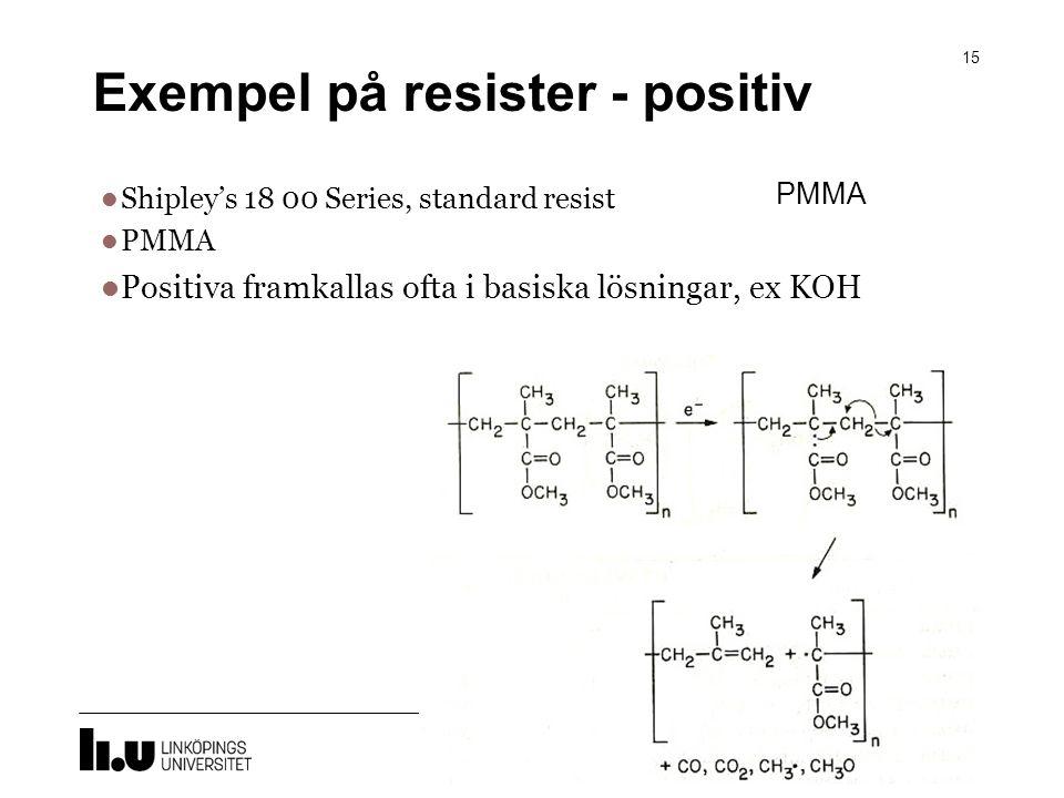 Exempel på resister - positiv 15 Shipley's 18 00 Series, standard resist PMMA Positiva framkallas ofta i basiska lösningar, ex KOH PMMA