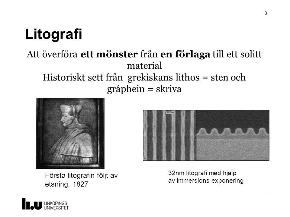 Litografi 3 Att överföra ett mönster från en förlaga till ett solitt material Historiskt sett från grekiskans lithos = sten och gráphein = skriva Förs