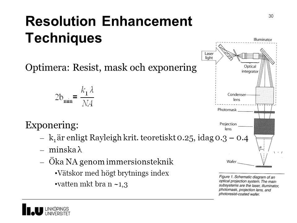 Resolution Enhancement Techniques 30 Optimera: Resist, mask och exponering Exponering: – k 1 är enligt Rayleigh krit. teoretiskt 0.25, idag 0.3 – 0.4
