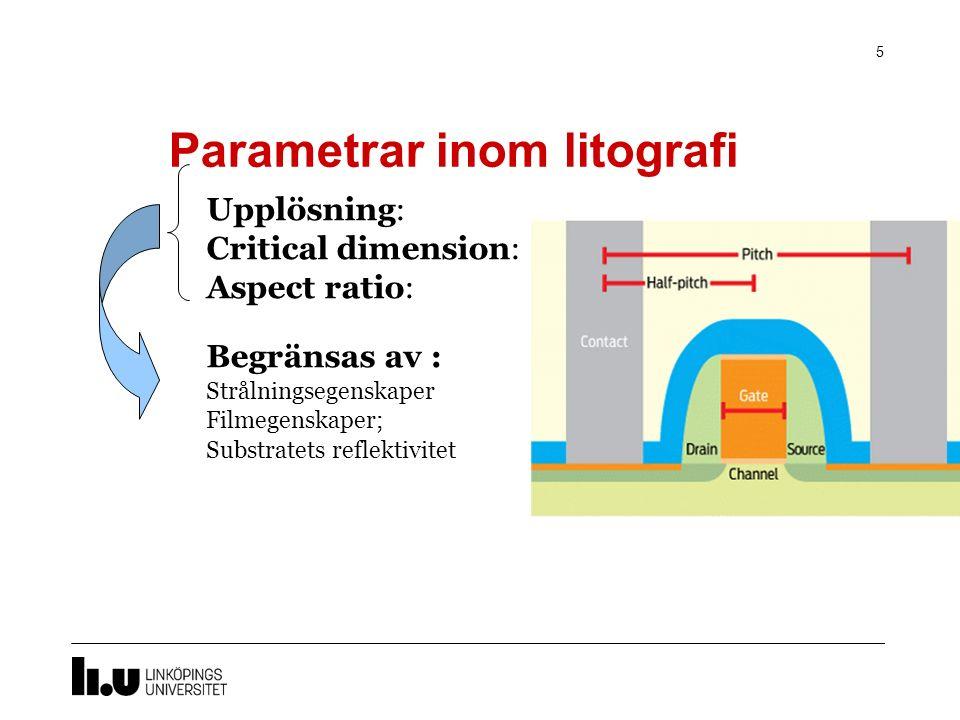 Parametrar inom litografi 5 Upplösning: Critical dimension: Aspect ratio: Begränsas av : Strålningsegenskaper Filmegenskaper; Substratets reflektivitet