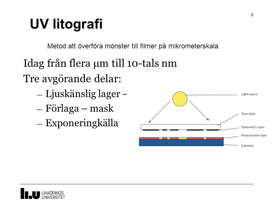 UV litografi 9 Idag från flera μm till 10-tals nm Tre avgörande delar: – Ljuskänslig lager – fotoresist – Förlaga – mask – Exponeringkälla Metod att överföra mönster till filmer på mikrometerskala