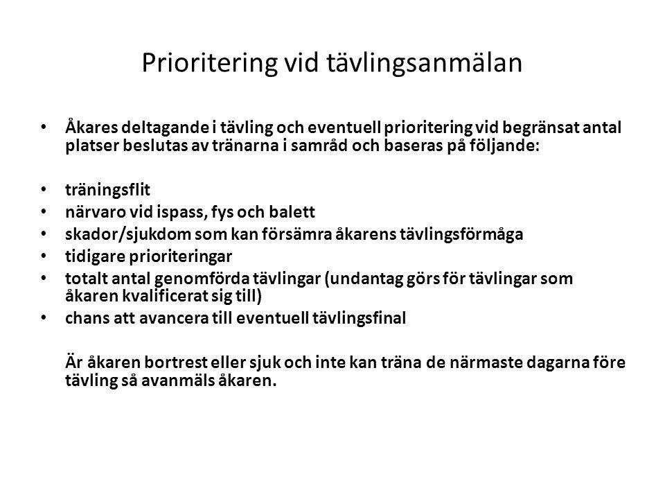 Prioritering vid tävlingsanmälan Åkares deltagande i tävling och eventuell prioritering vid begränsat antal platser beslutas av tränarna i samråd och