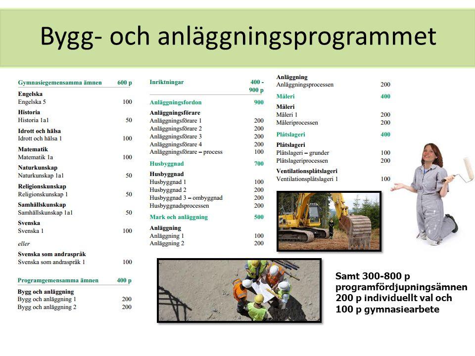 Bygg- och anläggningsprogrammet Samt 300-800 p programfördjupningsämnen 200 p individuellt val och 100 p gymnasiearbete
