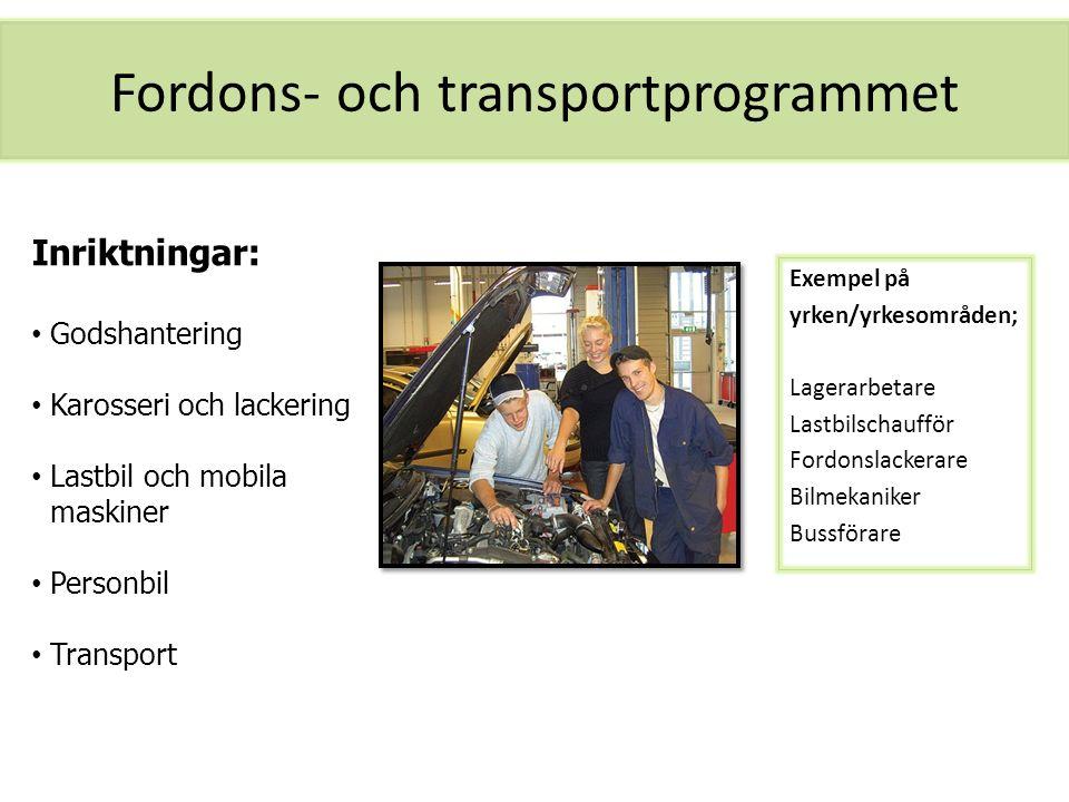 Fordons- och transportprogrammet Exempel på yrken/yrkesområden; Lagerarbetare Lastbilschaufför Fordonslackerare Bilmekaniker Bussförare Inriktningar: