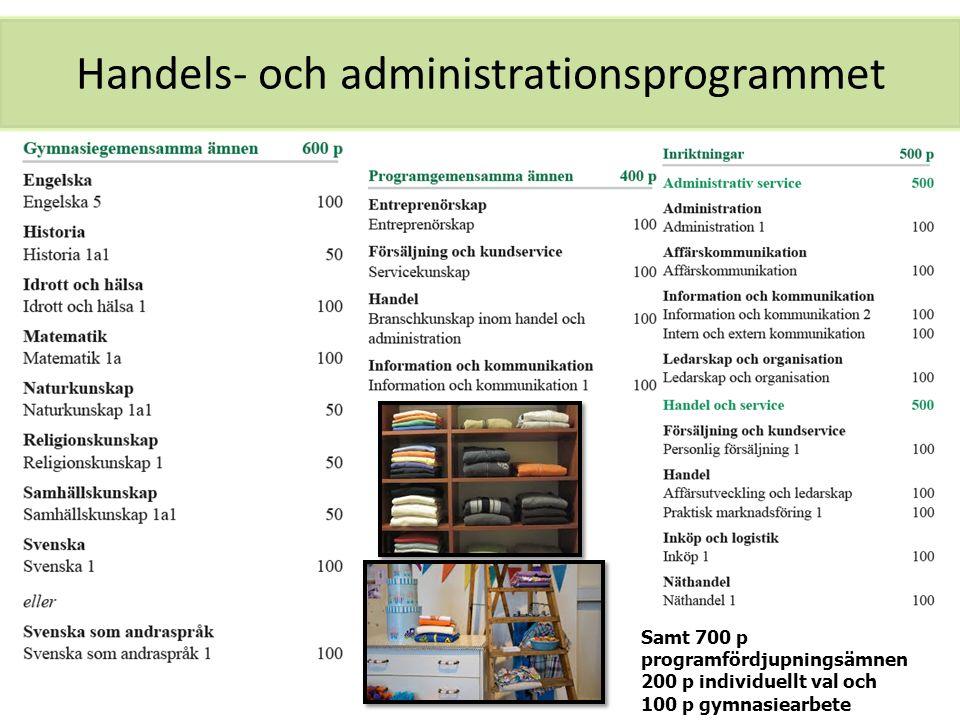 Handels- och administrationsprogrammet Samt 700 p programfördjupningsämnen 200 p individuellt val och 100 p gymnasiearbete