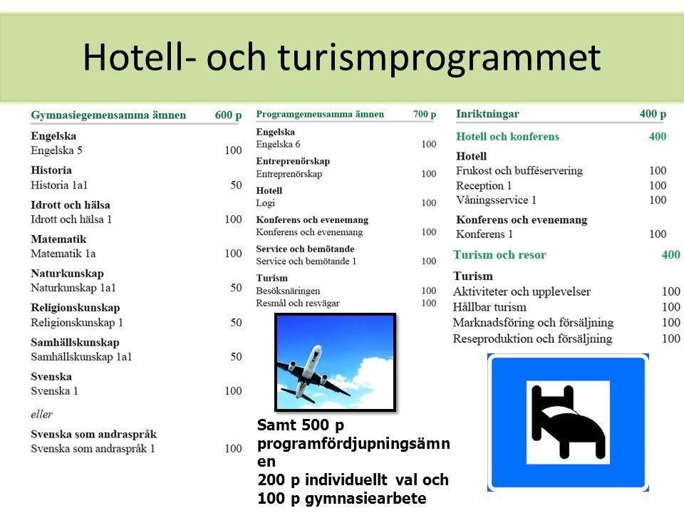 Hotell- och turismprogrammet Samt 500 p programfördjupningsämn en 200 p individuellt val och 100 p gymnasiearbete