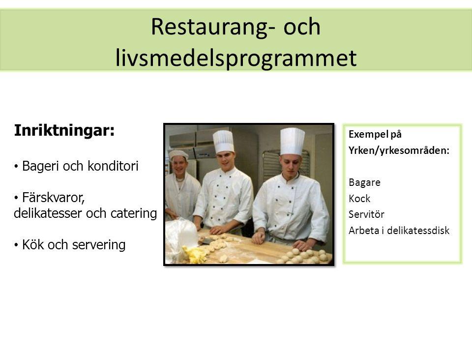 Restaurang- och livsmedelsprogrammet Exempel på Yrken/yrkesområden: Bagare Kock Servitör Arbeta i delikatessdisk Inriktningar: Bageri och konditori Fä