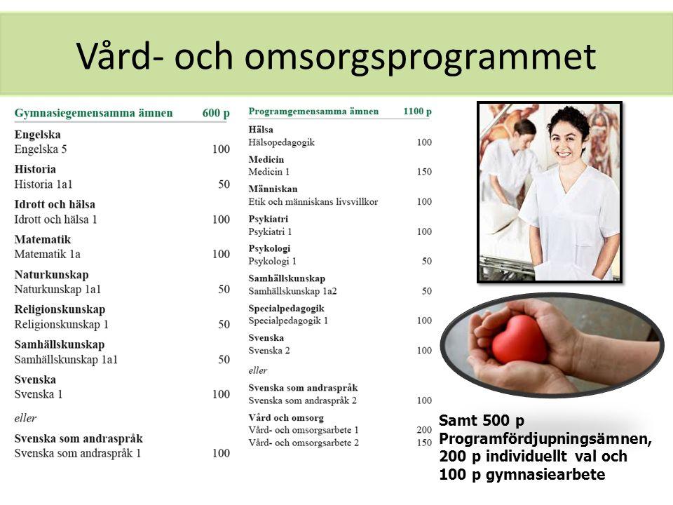 Vård- och omsorgsprogrammet Samt 500 p Programfördjupningsämnen, 200 p individuellt val och 100 p gymnasiearbete