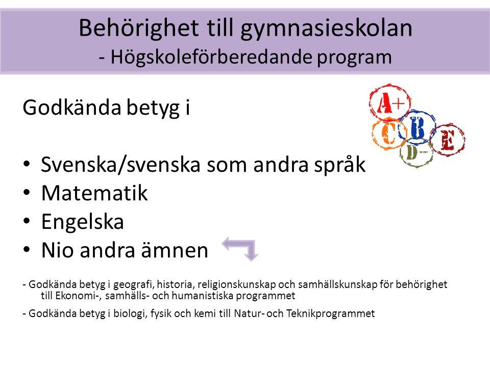 Behörighet till gymnasieskolan - Högskoleförberedande program Godkända betyg i Svenska/svenska som andra språk Matematik Engelska Nio andra ämnen - Go