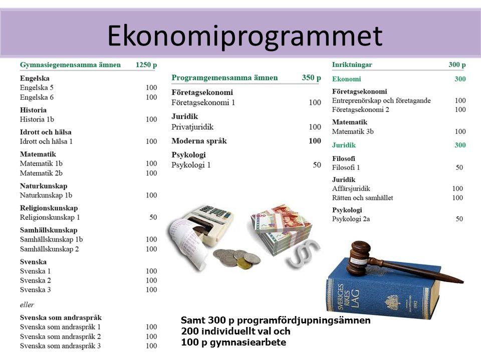 Ekonomiprogrammet Samt 300 p programfördjupningsämnen 200 individuellt val och 100 p gymnasiearbete